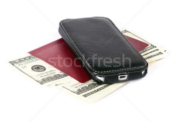 Foto stock: EUA · dólares · teléfono · celular · aislado · blanco · móviles