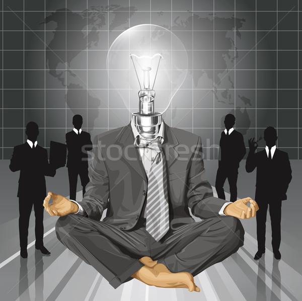 Stock photo: Vector Lamp Head Businessman in Lotus Pose Meditating