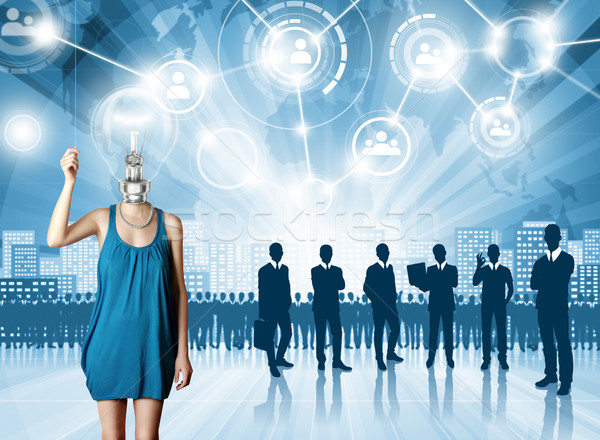 üzletember munkáltató választ alkalmazott nő tömeg Stock fotó © leedsn