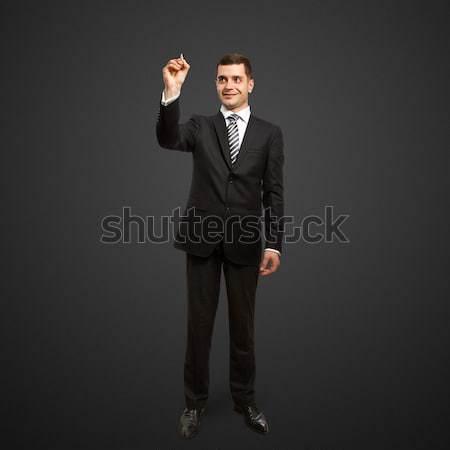 Zdjęcia stock: Biznesmen · znacznik · mężczyzna · coś · szkła · człowiek