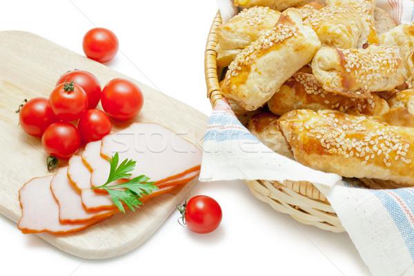 Sütemény sonka koktélparadicsom frissen sült szezámmag Stock fotó © Leftleg