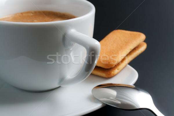Csésze kávé fehér porcelán frissen közelkép Stock fotó © Leftleg