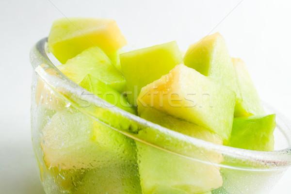 Dinnye adag friss érett darabok üveg Stock fotó © Leftleg