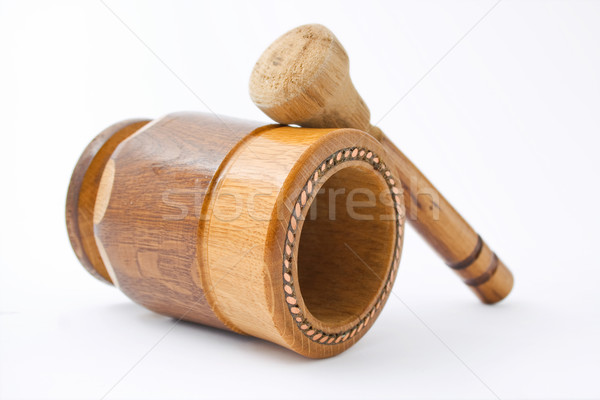 Fából készült kézzel készített réz drót izolált fehér Stock fotó © Leftleg