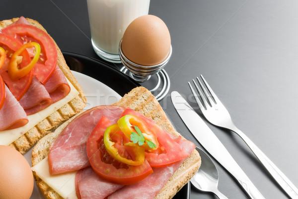 Frühstück Schweinefleisch Sandwiches Käse Tomaten Pfeffer Stock foto © Leftleg