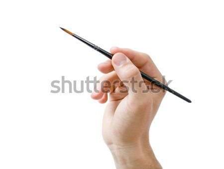 Hand holding paint brush Stock photo © Leftleg
