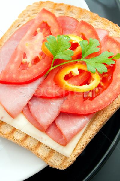 Sandwich fraîches appétissant porc fromages tomate Photo stock © Leftleg