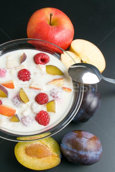 Yogurt with fruits Stock photo © Leftleg