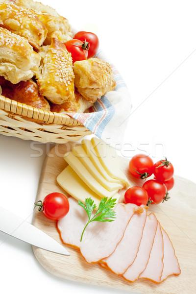 Sütemény frissen sült szezámmag fonott kosár Stock fotó © Leftleg