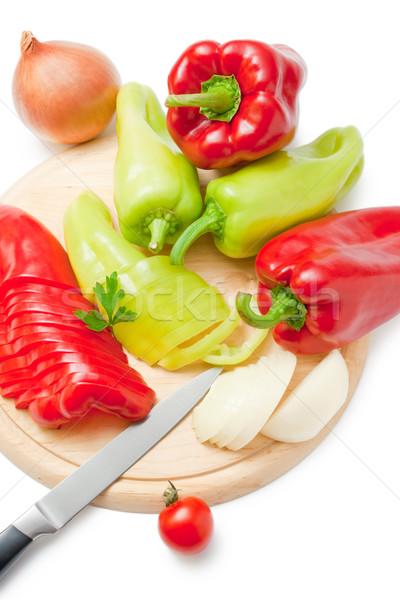 Zöldségek friss érett piros zöld paprikák Stock fotó © Leftleg