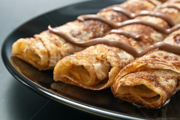 Pfannkuchen frisch gebacken gerollt Schokolade schwarz Stock foto © Leftleg