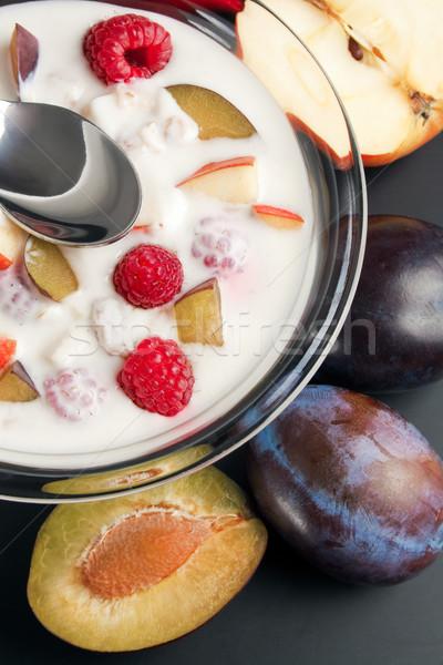 Yogurt mixed with fruit pieces Stock photo © Leftleg