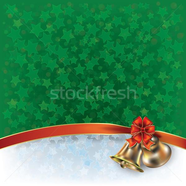Karácsony zöld üdvözlet íj absztrakt háttér Stock fotó © lem