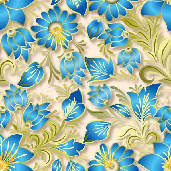 Absztrakt klasszikus végtelenített virágmintás dísz kék Stock fotó © lem