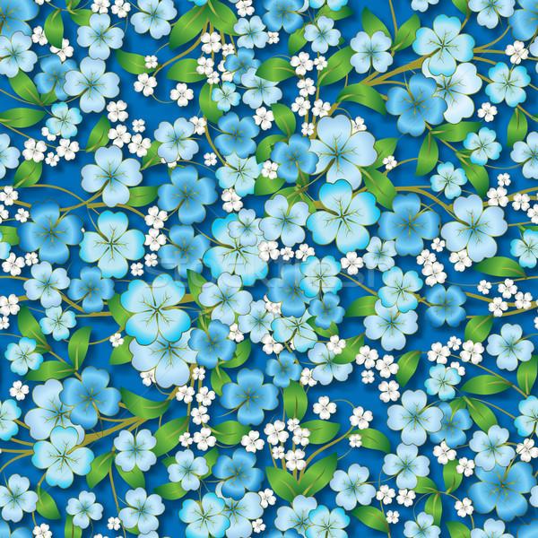 Absztrakt virágmintás dísz kék végtelenített tavasz Stock fotó © lem