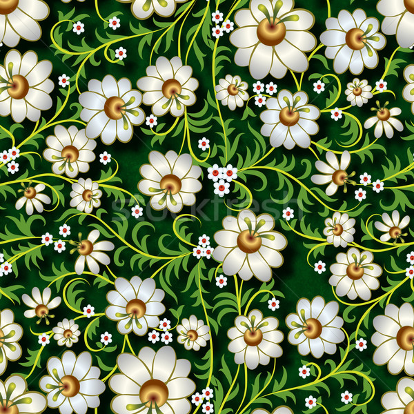 abstract seamless floral ornament with flowers on green backgrou Stock photo © lem