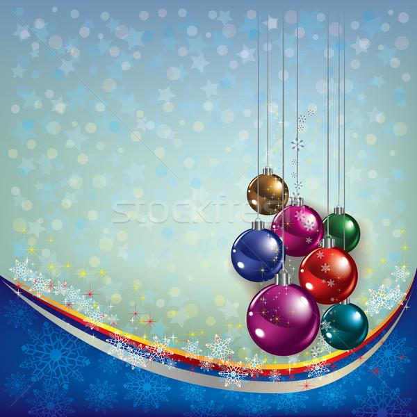 Navidad saludo decoración azul resumen árbol Foto stock © lem