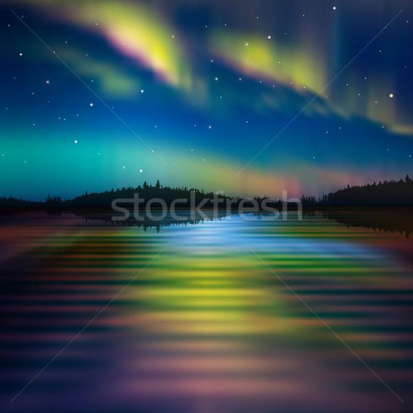 抽象的な 森林 湖 日の出 自然 オーロラ ストックフォト © lem