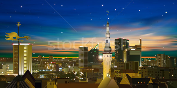 abstract nature background with sunset and cityscape Stock photo © lem