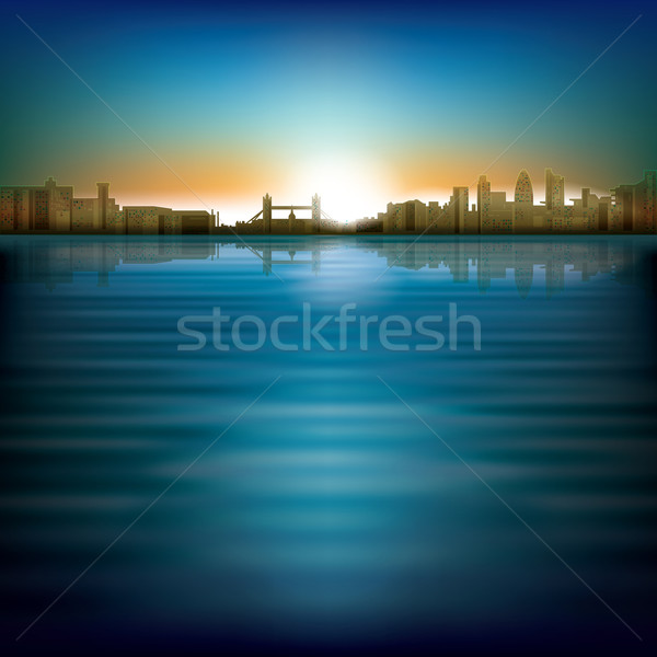 abstract background with sunrise and silhouette of city Stock photo © lem