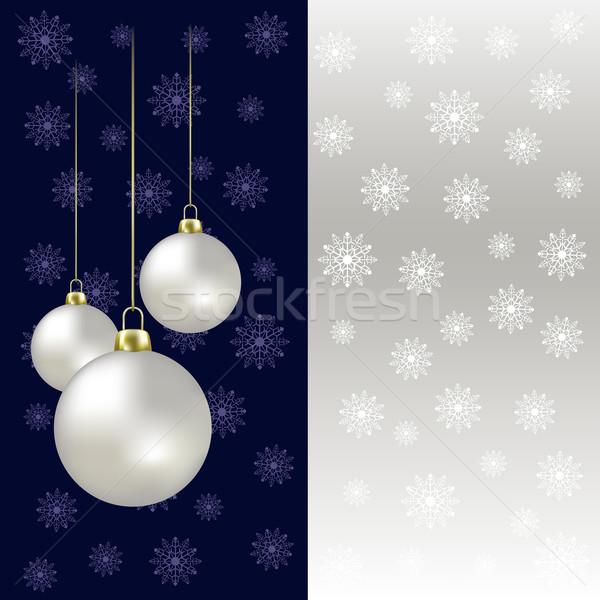 Karácsony golyók hópelyhek szürke számítógép fény Stock fotó © lem