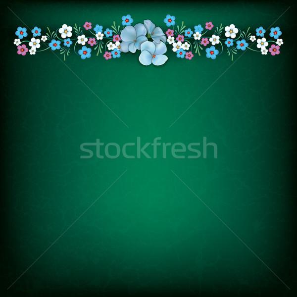 Absztrakt grunge virágmintás tavaszi virágok zöld levél Stock fotó © lem