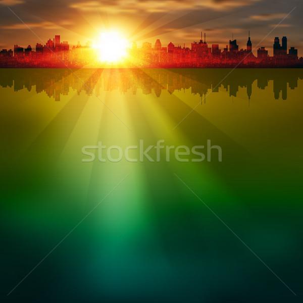 аннотация силуэта город Восход здании строительство Сток-фото © lem