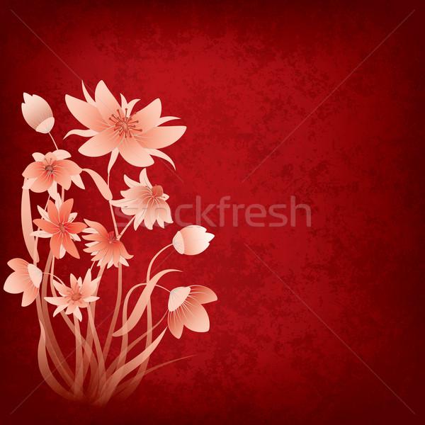 Streszczenie grunge kwiaty czerwony wiosną liści Zdjęcia stock © lem