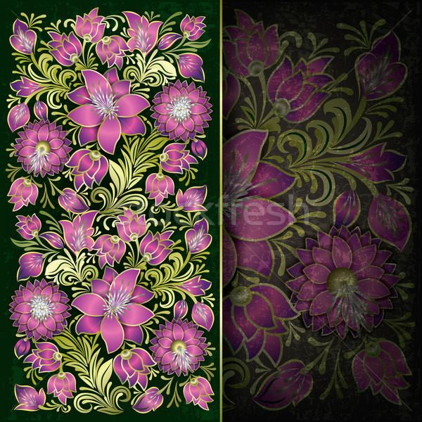 Resumen grunge rosa floral ornamento verde Foto stock © lem