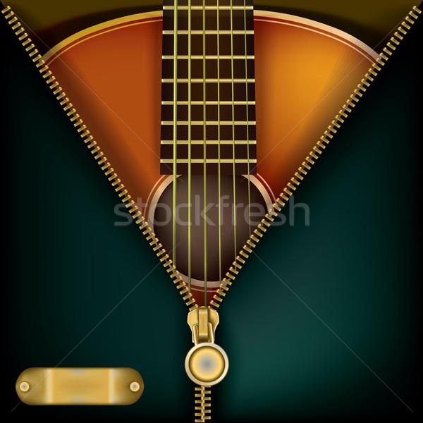 Abstrato música guitarra abrir zíper verde Foto stock © lem