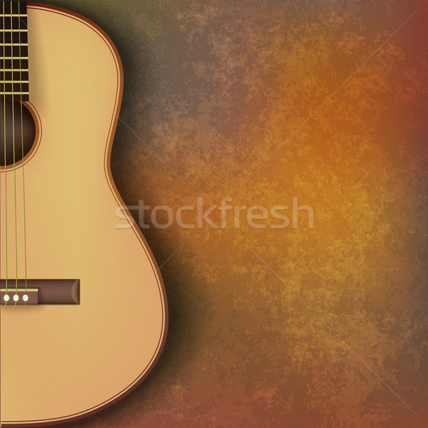 abstract grunge music background with guitar on brown Stock photo © lem