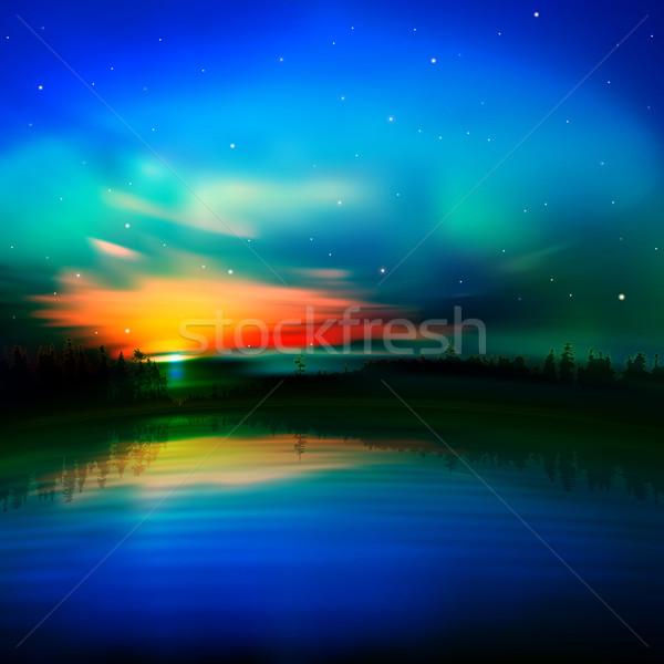 аннотация природы Восход красный лес пейзаж Сток-фото © lem