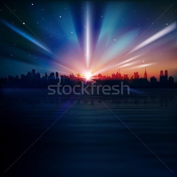 аннотация силуэта Нью-Йорк синий Восход здании Сток-фото © lem