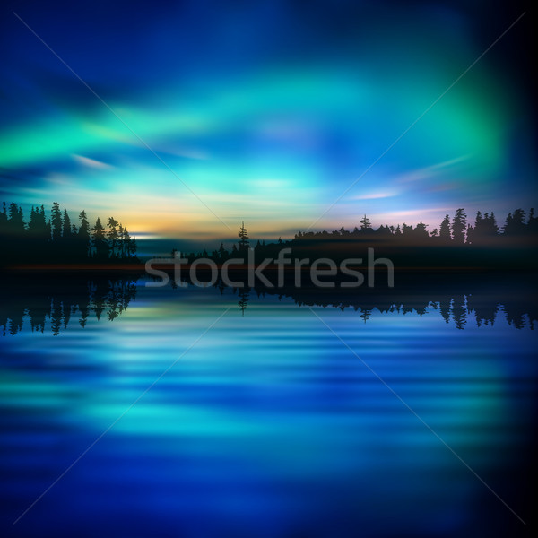 abstract background with sunset and mountains Stock photo © lem