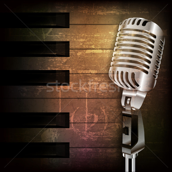 Stock photo: abstract grunge background with retro microphone