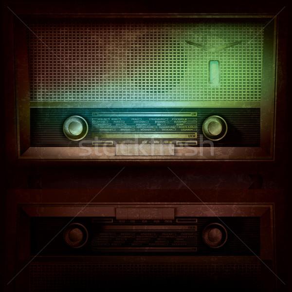 Absztrakt zene retro rádió grunge fény Stock fotó © lem