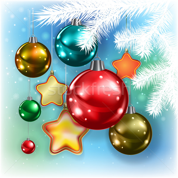 Absztrakt karácsony díszítések kék hópelyhek boldog Stock fotó © lem