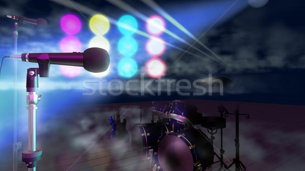 этап музыкальный технологий искусства красный силуэта Сток-фото © lem