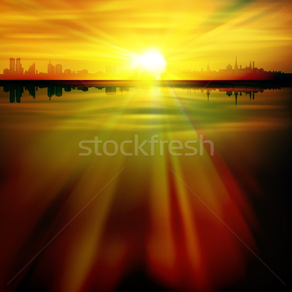 abstract background with silhouette of Tallinn Stock photo © lem