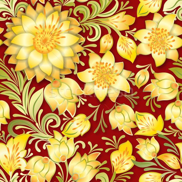 Resumen vintage sin costura floral ornamento amarillo Foto stock © lem