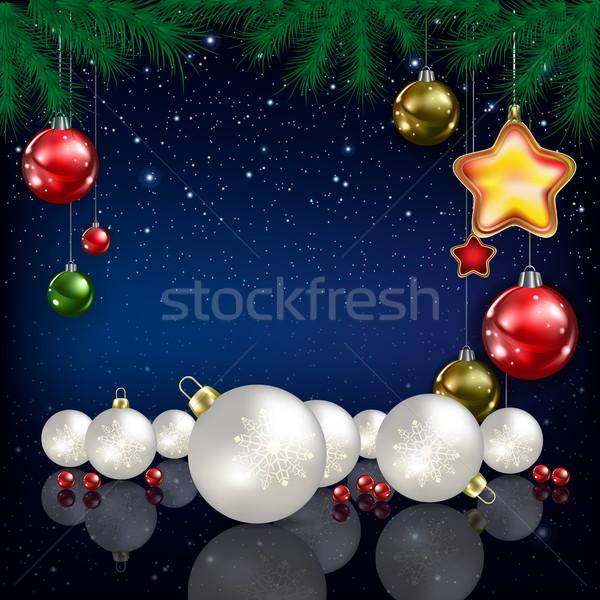 Kutlama tebrik noel ağacı kar taneleri mavi Noel Stok fotoğraf © lem