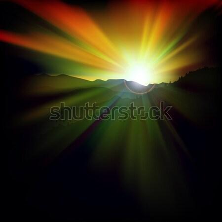 аннотация закат гор темно морем фон Сток-фото © lem