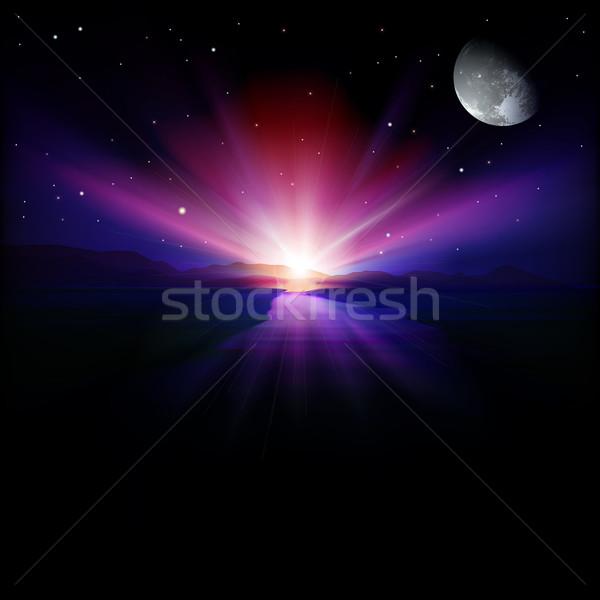 Stockfoto: Abstract · zonsopgang · bergen · maan · water · natuur