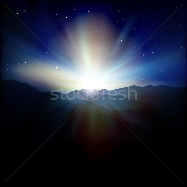 аннотация закат гор весны Восход пейзаж Сток-фото © lem