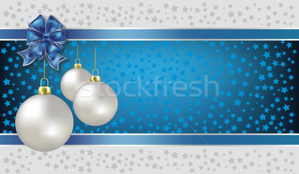 Christmas balls and stars blue vector background Stock photo © lem