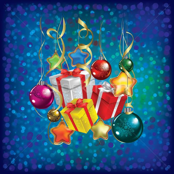 Resumen Navidad saludo regalos decoraciones azul Foto stock © lem
