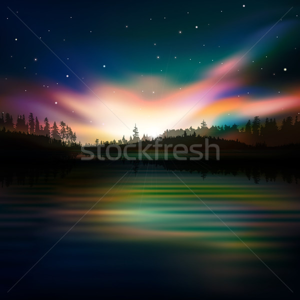 abstract background with forest lake and sunrise Stock photo © lem