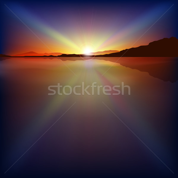 abstract background with sunrise and mountains Stock photo © lem