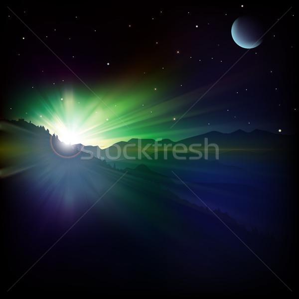 Absztrakt napfelkelte hegyek csillagok tenger háttér Stock fotó © lem