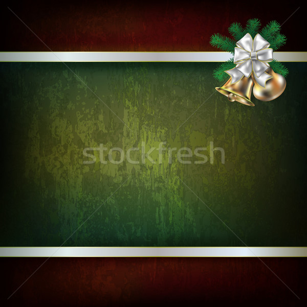 Christmas bells and white ribbon Stock photo © lem
